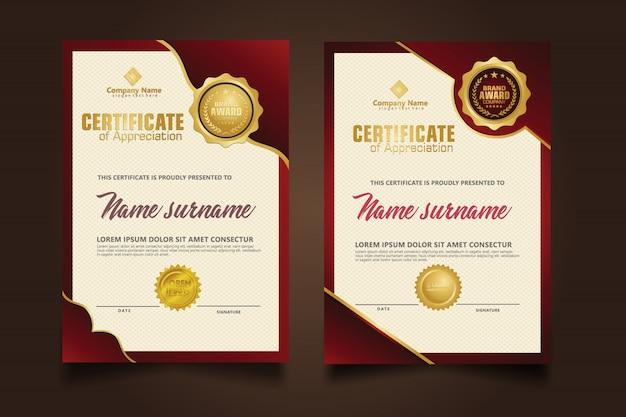 Gesetzte vertikale zertifikatschablone mit luxus und eleganter dunkelroter verzierung auf modernem musterhintergrund der beschaffenheit.