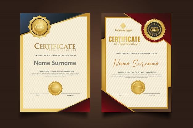 Gesetzte vertikale zertifikatschablone mit modernem musterhintergrund der luxus- und eleganten beschaffenheit.