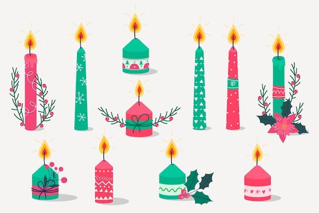 Gesetzte weihnachtskerze des flachen designs
