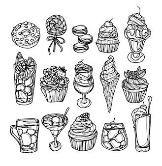 Gesetzte zeichnung und skizze des bäckereikaffees und -saftes hand