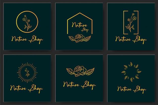 Gesetzter botanischer rahmen-element-design-vektor