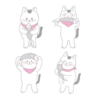 Gesetzter vektor der katze nette katze und der fische.