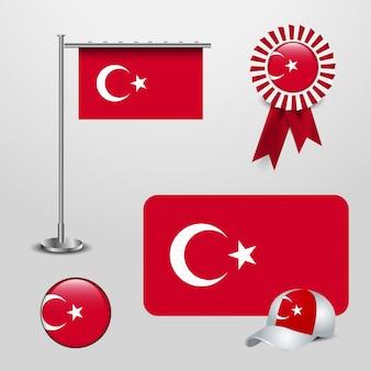 Gesetzter vektor des türkischen flaggendesigns