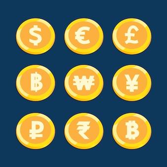 Gesetzter vektordesign der münzenwährung für geschäftsfinanzierung.