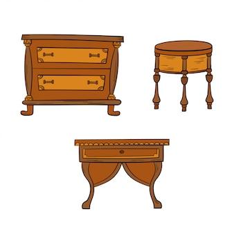 Gesetztes antikes büro der möbel, tabellen lokalisiert auf einem weißen hintergrund. linien zeichnen, stil skizzieren