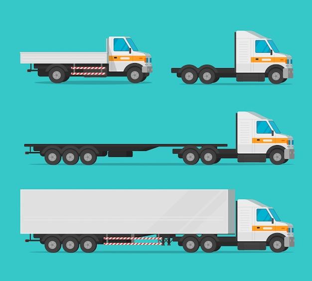 Gesetztes flaches clipart karikatur des lastwagens oder des frachtlastwagens und der lieferungsautomobile oder des frachtindustriefahrzeugvektors