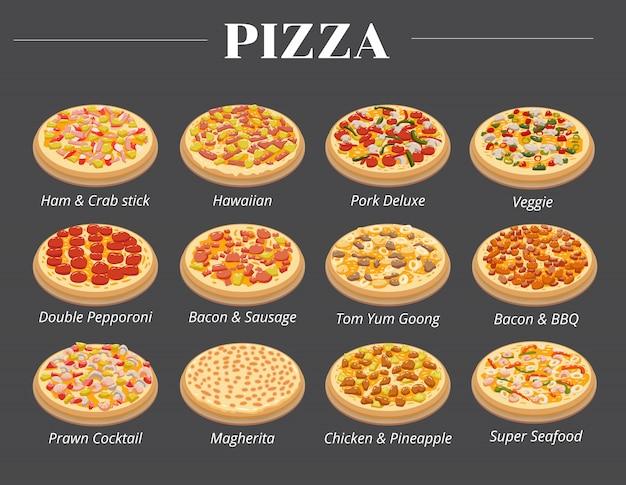 Gesetztes sammlungsgrafikdesign des pizzamenüvektors