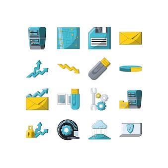 Gesetztes satzvektordesign der digital- und technologieikone der vielzahl