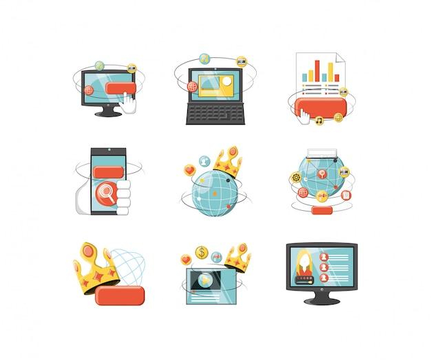 Gesetztes satzvektordesign der digitalen ikone der vielzahl