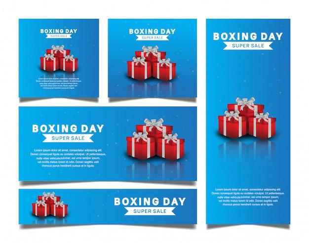 Gesetztes vektordesign des verpackentages mit roter geschenkbox für verkaufsfahnenschablone