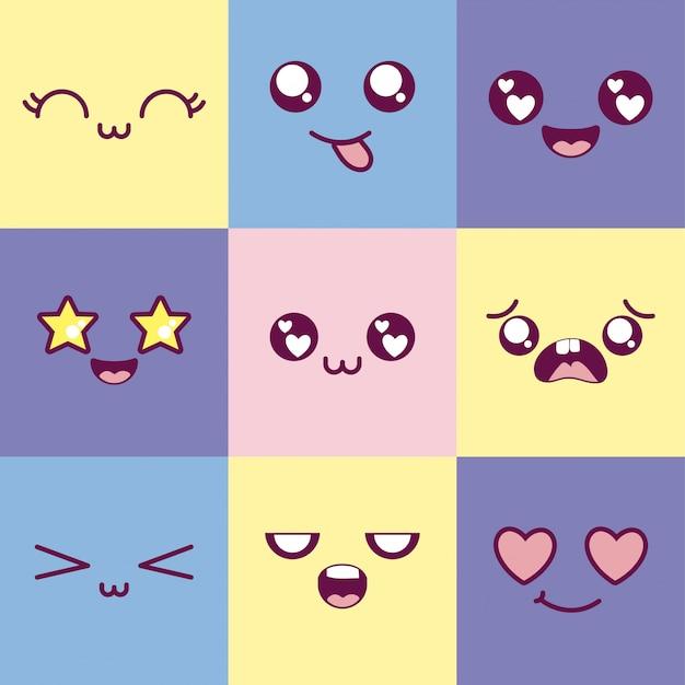 Gesetztes vektordesign mehrfarbiger emoticon kawaii-karikaturen