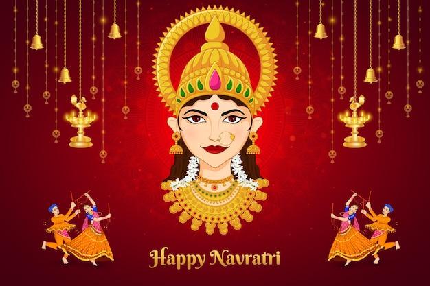 Gesicht der göttin durga shubh navratri festival happy dussehra und durga puja