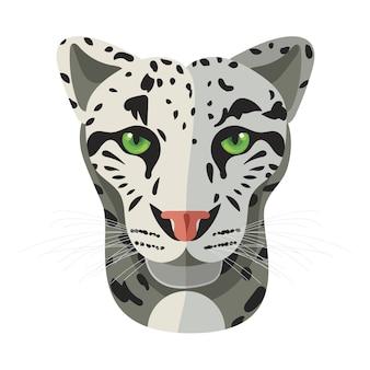 Gesicht der wilden katze, schneestangenkopf Premium Vektoren