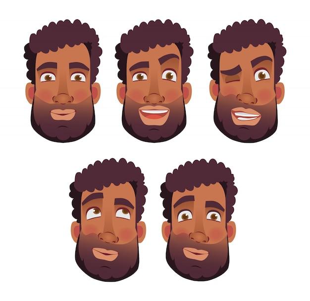 Gesicht des afrikanischen mannes - set