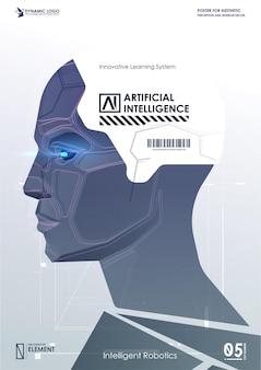 Gesicht des cyber-geistes. technologiehintergrundkonzept. künstliche intelligenz und big data, konzept des internets der dinge. ki.