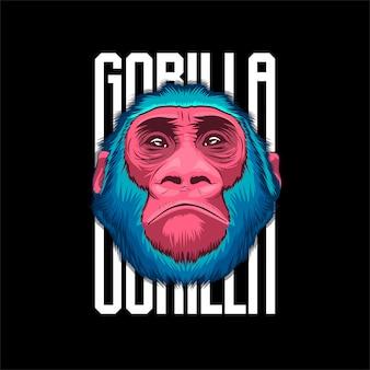 Gesicht des gorillas lokalisiert auf buntem.