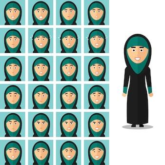 Gesicht emotionen der arabischen frau. porträt mädchen arabisch, glücklich traurig oder wütend. vektorillustrationssatz im flachen stil