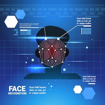 Gesicht-identifikations-system scannig mann-zugriffskontroll-modernes technologie-biometrisches anerkennungs-konzept