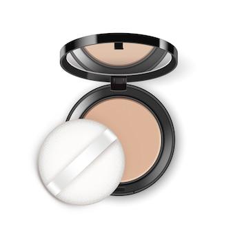 Gesicht kosmetisches make-up-puder in schwarzer runder plastikhülle