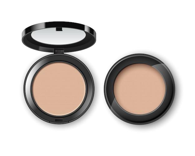 Gesicht kosmetisches make-up-pulver in schwarzer runder kunststoffhülle draufsicht isoliert auf weißem hintergrund