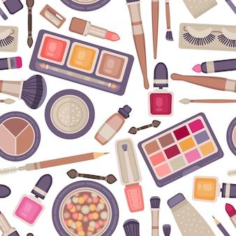 Gesicht make-up werkzeuge nahtlose muster. kollektion dekorativer kosmetikartikel