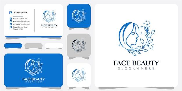 Gesicht schönheit mit blumen-logo-design-inspirationen mit visitenkarte. gesichtsschönheit mit haarblatt-logo-design