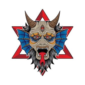 Gesicht teufel flash tattoo design