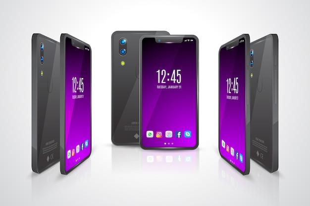 Gesicht und rückseite des smartphones in verschiedenen ansichten