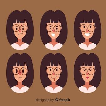 Gesichter der frau mit verschiedenen emotionen