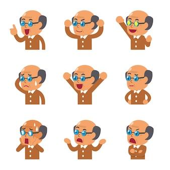 Gesichter des älteren mannes der karikatur, die verschiedene gefühle zeigen