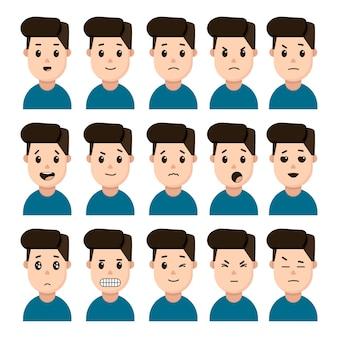Gesichter des mannes, der emotionen ausdrückt satz von symbolen auf einem weißen hintergrund. gesichter von wütend, glücklich, überrascht, ernst usw.