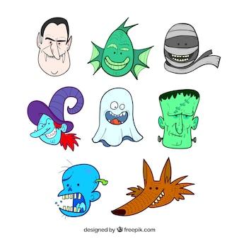 Gesichter von typischen halloween-figuren