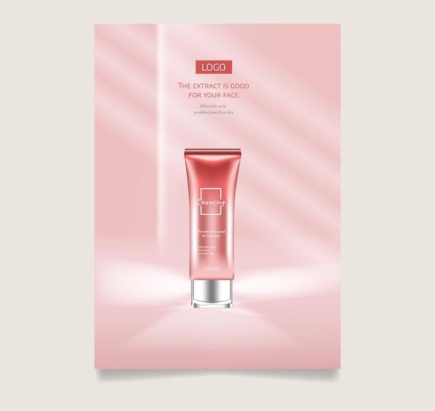 Gesichts-anti-falten-creme-anzeigen-plakat-vorlage kosmetik-premium-produkt kosmetikverpackungsmodell