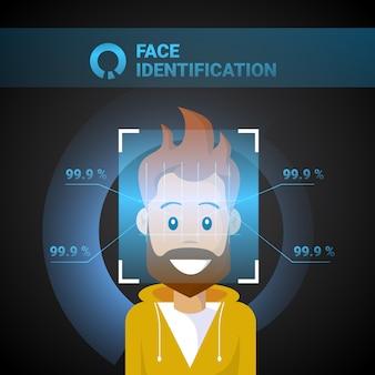 Gesichts-identifizierungs-mann, der modernes zugangskontrolltechnologie-biometrisches anerkennungssystem-konzept scannt