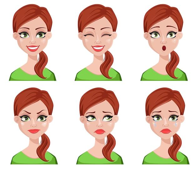 Gesichtsausdrücke der frau mit braunen haaren