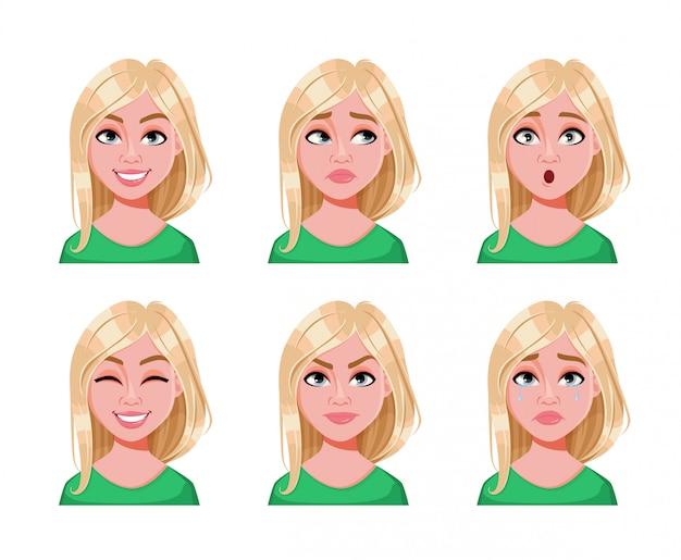 Gesichtsausdrücke der niedlichen blonden frau