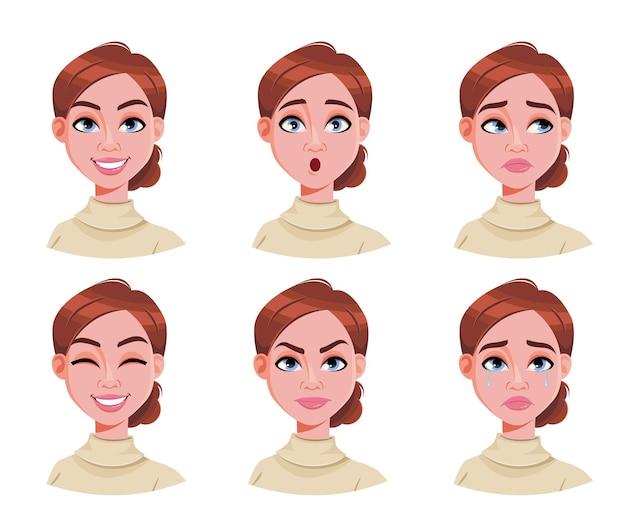 Gesichtsausdrücke der niedlichen frau mit braunen haaren