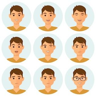 Gesichtsausdrücke der runden avatare des mannes