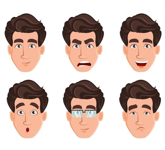 Gesichtsausdrücke des gutaussehenden mannes