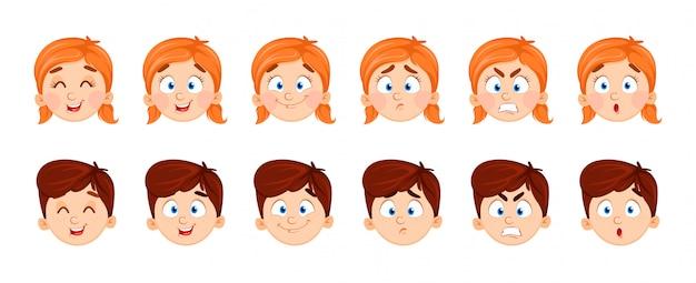 Gesichtsausdrücke von jungen und mädchen
