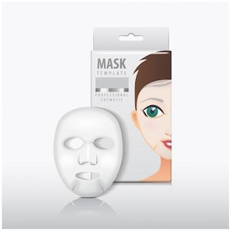 Gesichtsblattmaske mit weißer papierbox. vorlage. schönheitsproduktpaket
