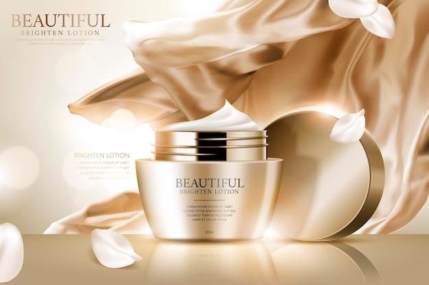 Gesichtscreme-anzeigen mit goldenem, glattem satin und weißen blütenblättern in 3d-darstellung