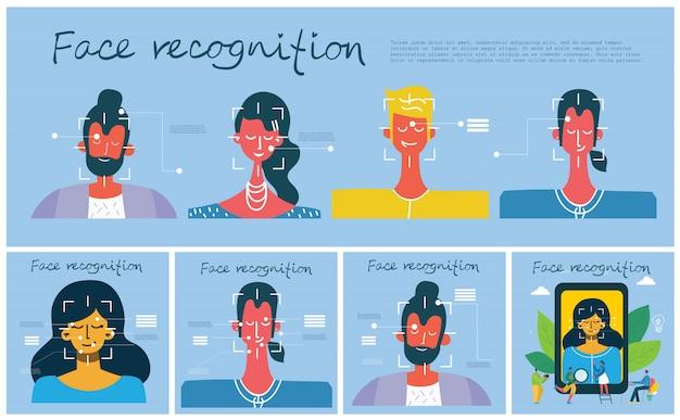 Gesichtserkennungskonzept. gesichtserkennung, gesichtserkennungssystem mit intellektuellem lernsystem.