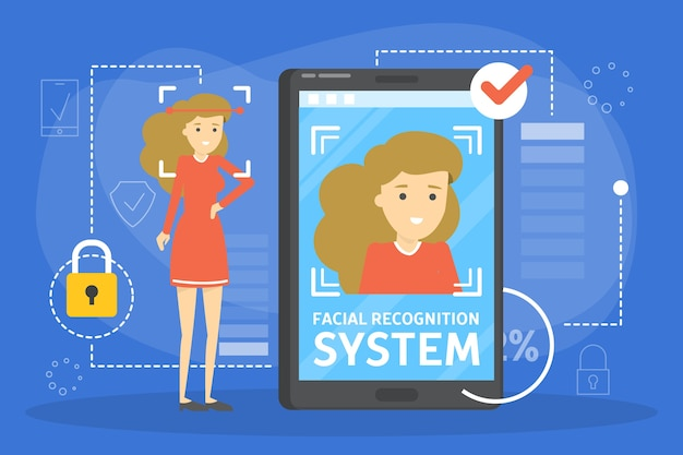 Gesichtserkennungssystem im mobiltelefonkonzept