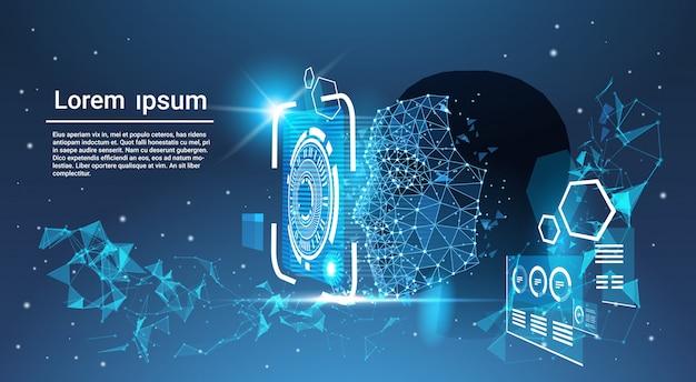 Gesichtserkennungssystem-konzept niedriges polygon-menschliches gesicht, das blauen schablonen-hintergrund mit kopie s scannt