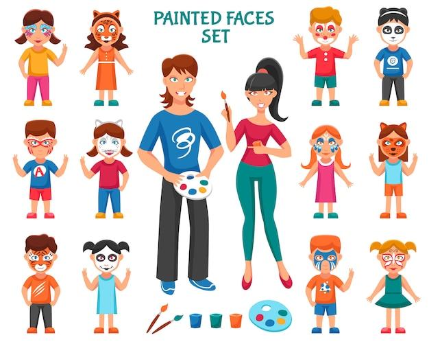 Gesichtsfarbe für kinder eingestellt