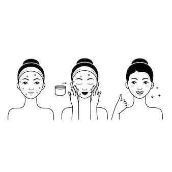 Gesichtshautpflegevektor eingestellt mit mädchen