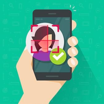 Gesichtsidentifikationserkennung über flache karikatur der handy- oder mobiltelefonillustration