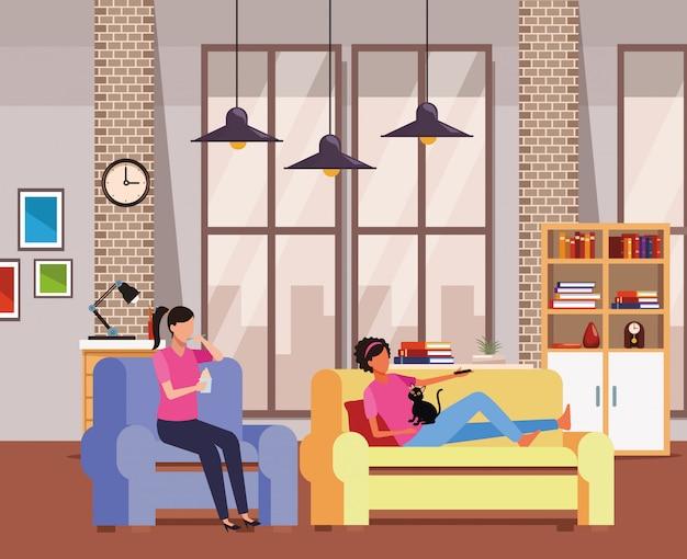 Gesichtslose frauen entspannen sich mit katzenwohnzimmer