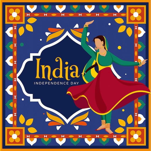 Gesichtslose indische frau, die klassischen tanz auf buntem dekorativem weinlesestilhintergrund in kitschkunst für indien-unabhängigkeitstag-feier tut.